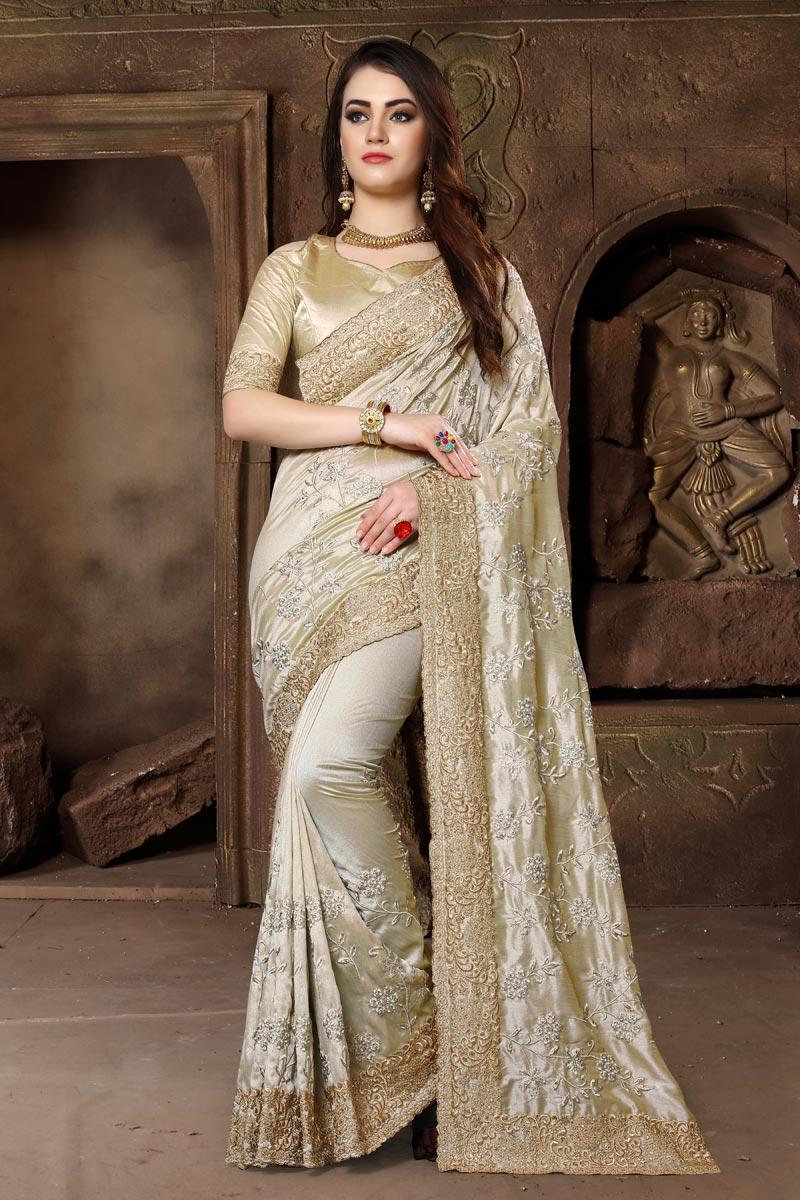 Embroidery Work Wedding Wear Art Silk Fabric Traditional Saree