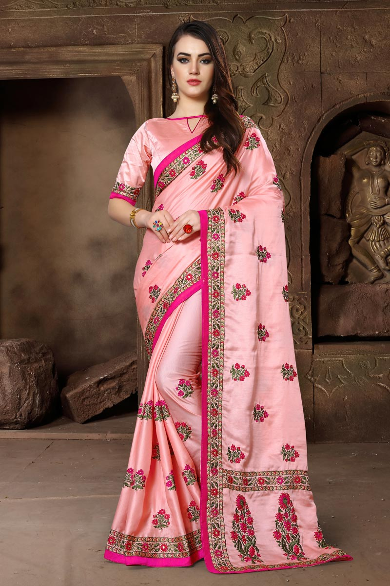 Embroidery Work Art Silk Fabric Peach Color Fancy Embellished Saree