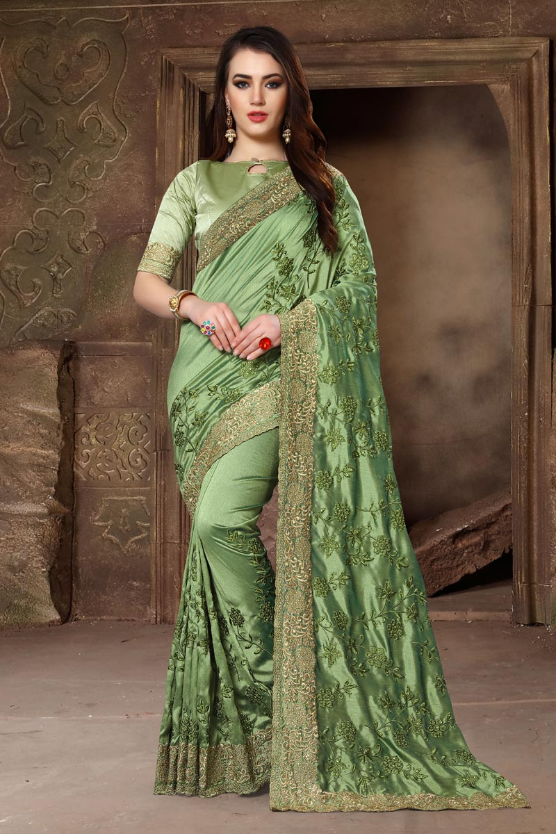 Embroidery Work Art Silk Fabric Function Wear Designer Saree