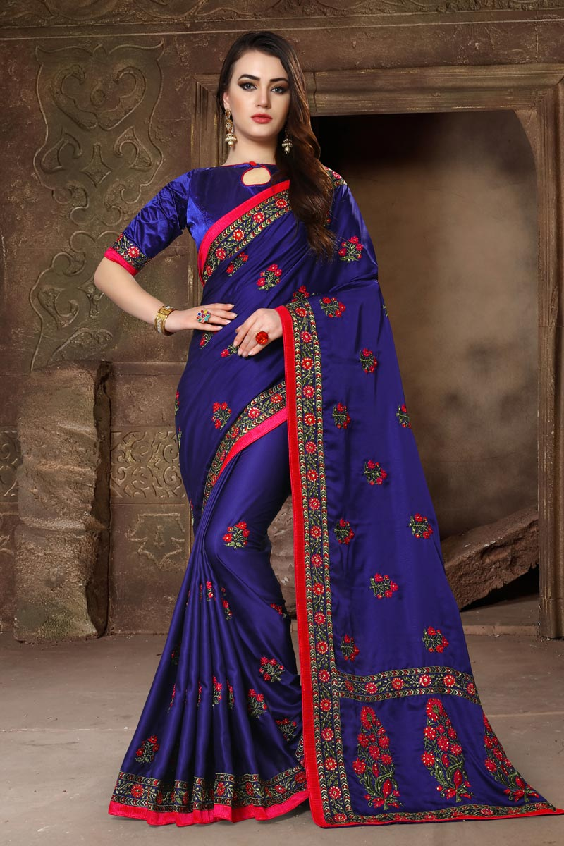 Art Silk Fabric Embroidery Work Navy Blue Color Embellished Designer Saree