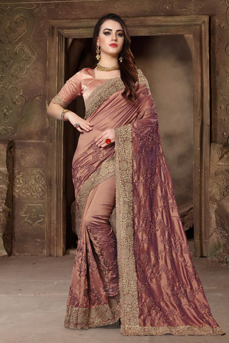 Embroidery Work On Light Wine Color Designer Saree In Art Silk Fabric