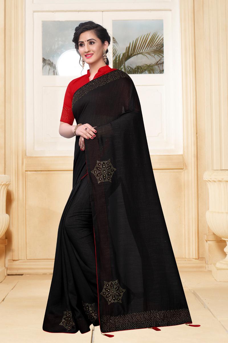 Black Color Designer Saree In Art Silk Fabric