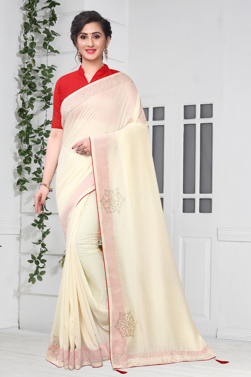 Art Silk Fabric Party Wear Saree In Beige Color