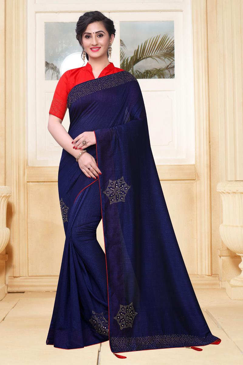 Blue Color Art Silk Fabric Saree For Mehendi Ceremony