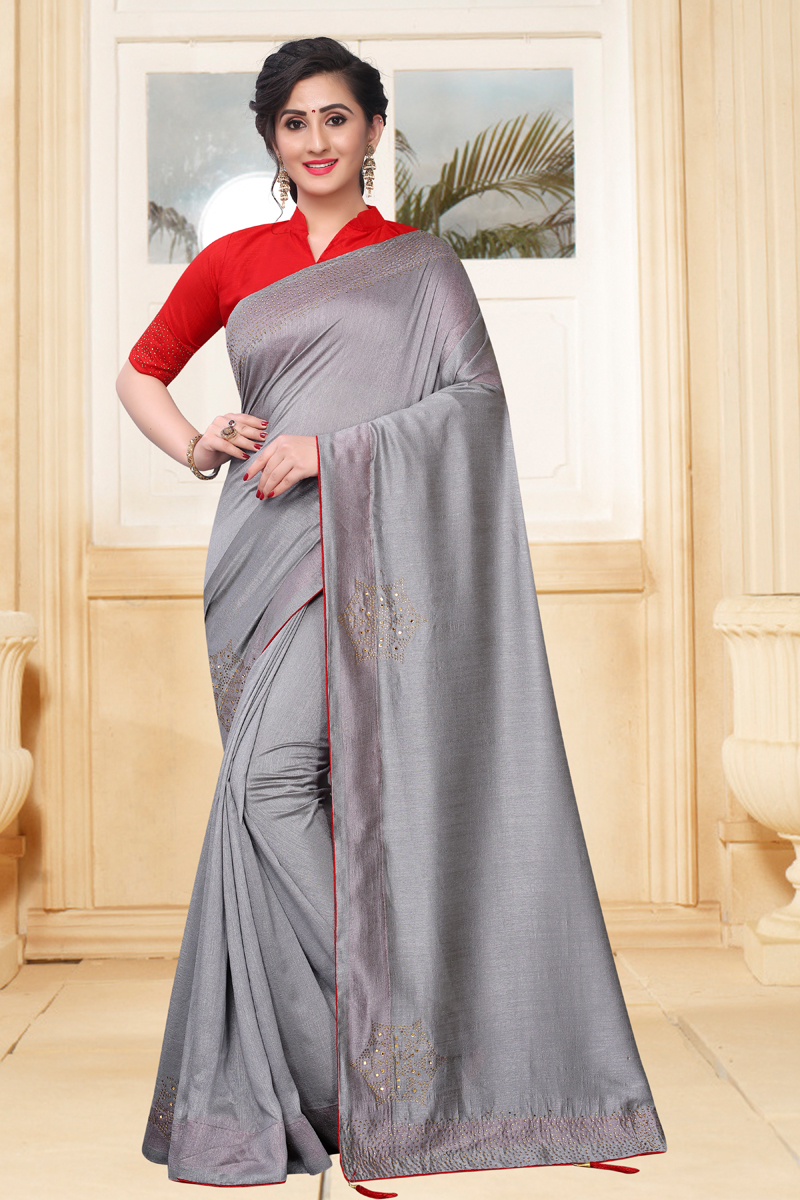 Grey Color Traditional Saree In Art Silk Fabric