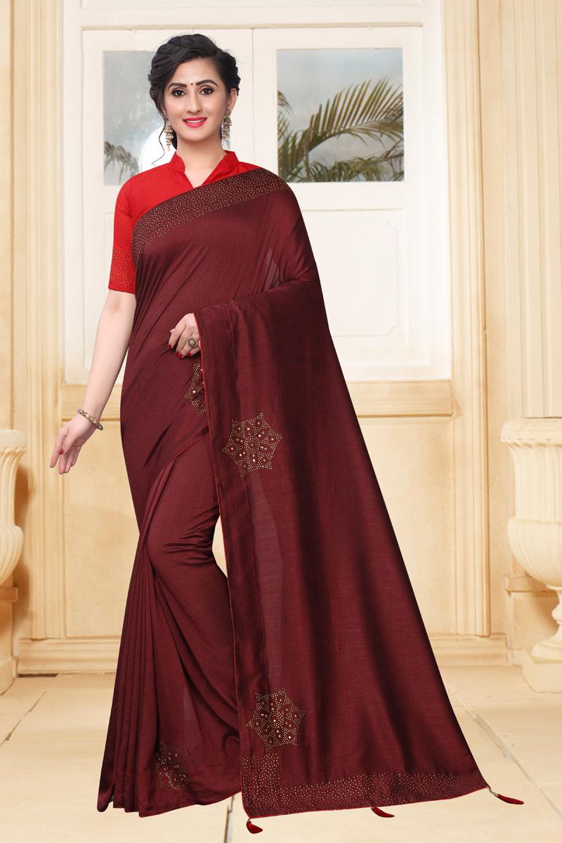 Maroon Color Art Silk Fabric Function Wear Saree