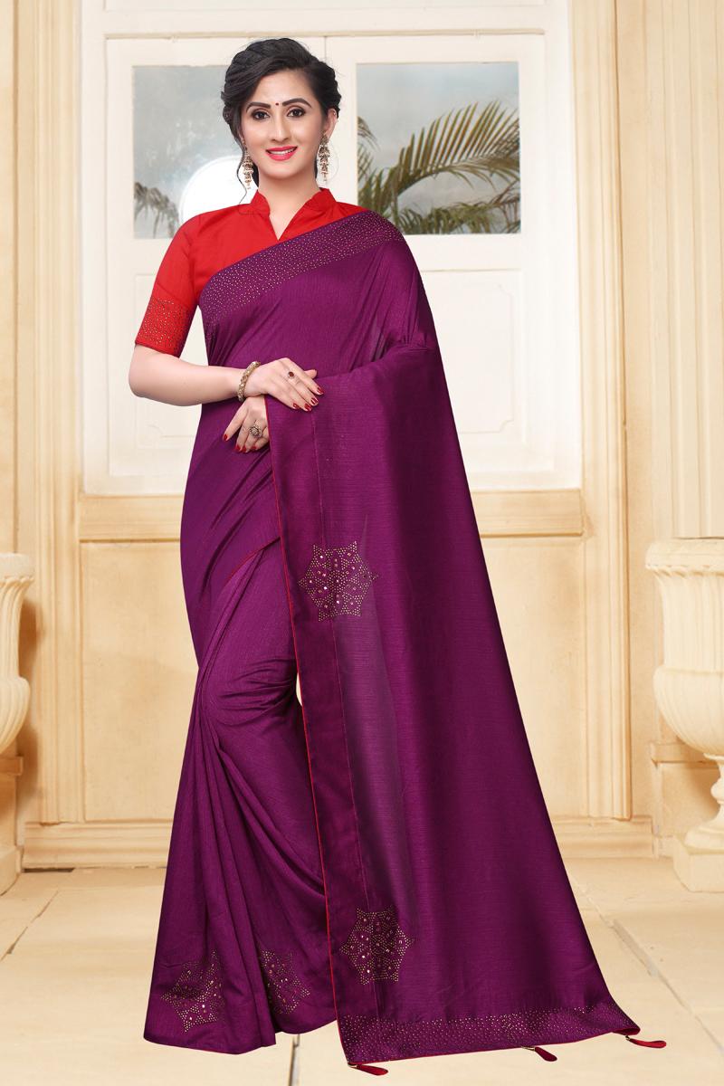 Art Silk Fabric Party Wear Saree In Purple Color