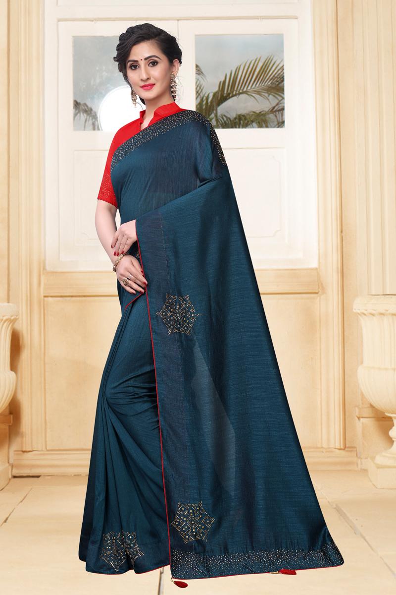 Teal Color Art Silk Fabric Festive Wear Saree