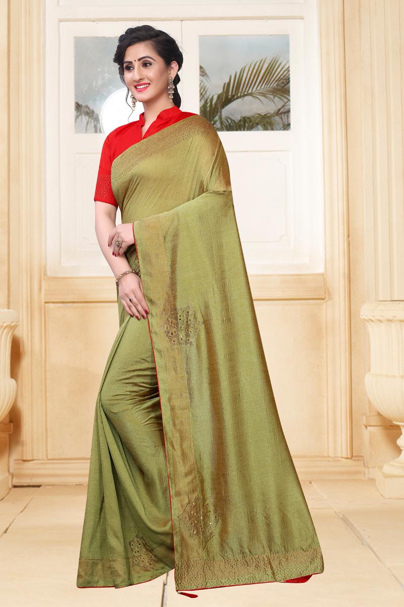 Art Silk Fabric Designer Saree In Cream Color