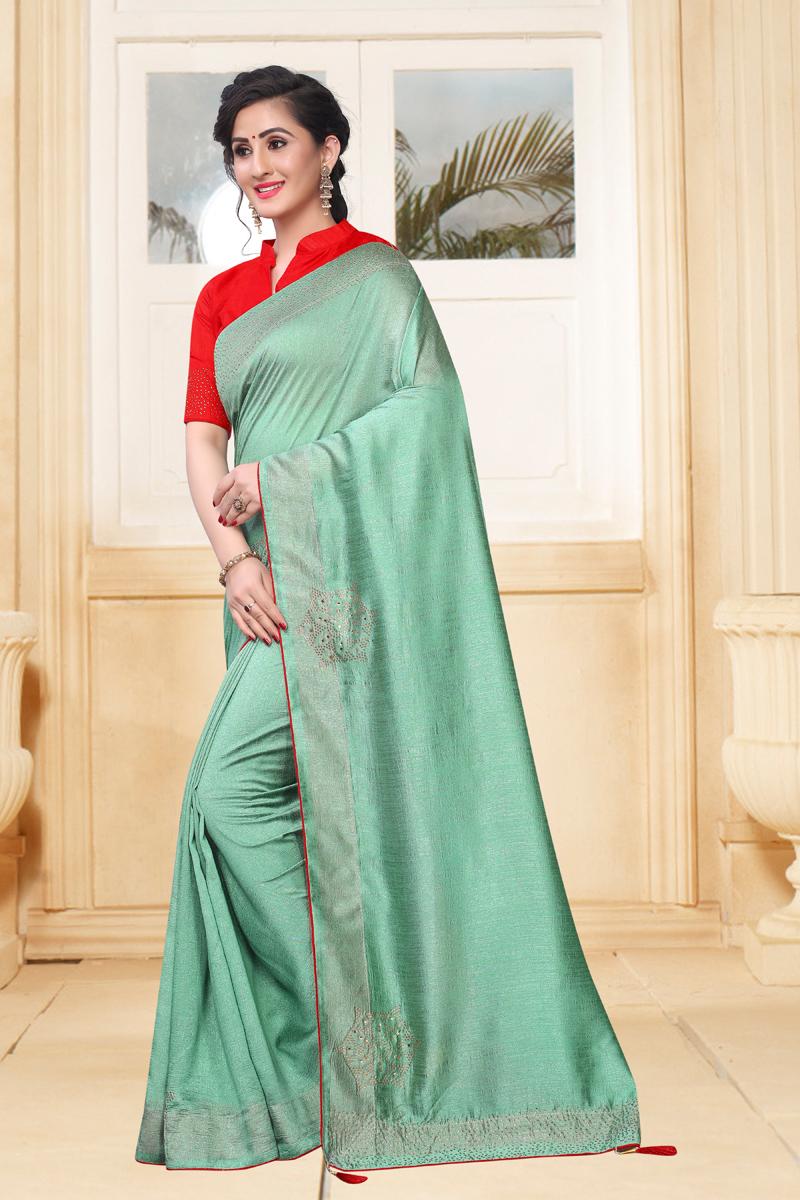 Sea Green Color Art Silk Fabric Function Wear Saree