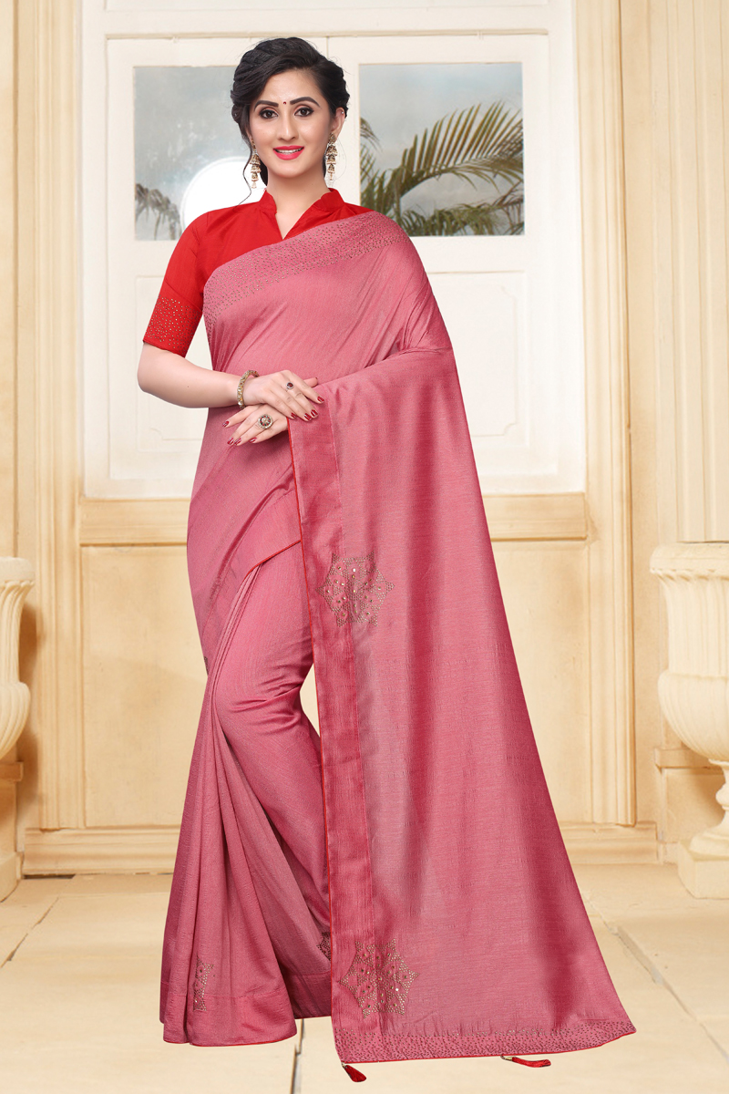 Function Wear Pink Color Saree In Art Silk Fabric