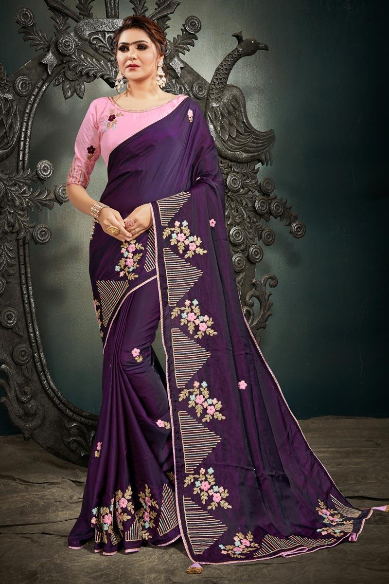Art Silk Fabric Fancy Puja Wear Purple Color Embroidery Work Saree