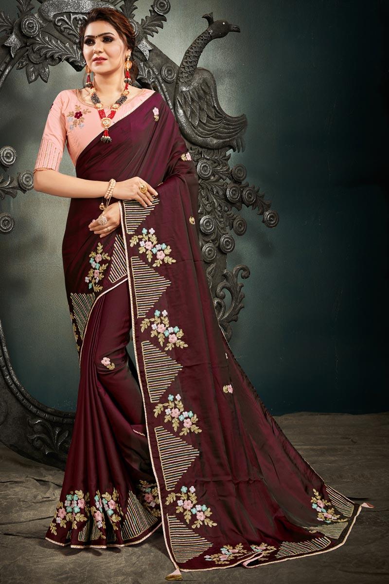 Maroon Color Puja Wear Art Silk Fabric Fancy Embroidery Work Saree