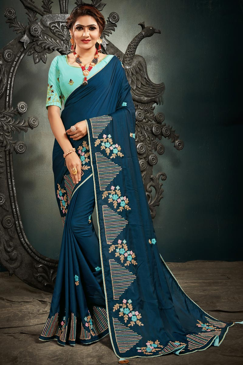 Art Silk Fabric Function Wear Fancy Teal Color Embroidery Work Saree