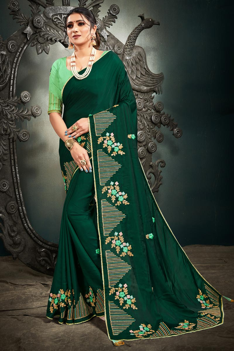 Function Wear Dark Green Color Fancy Art Silk Fabric Embroidery Work Saree