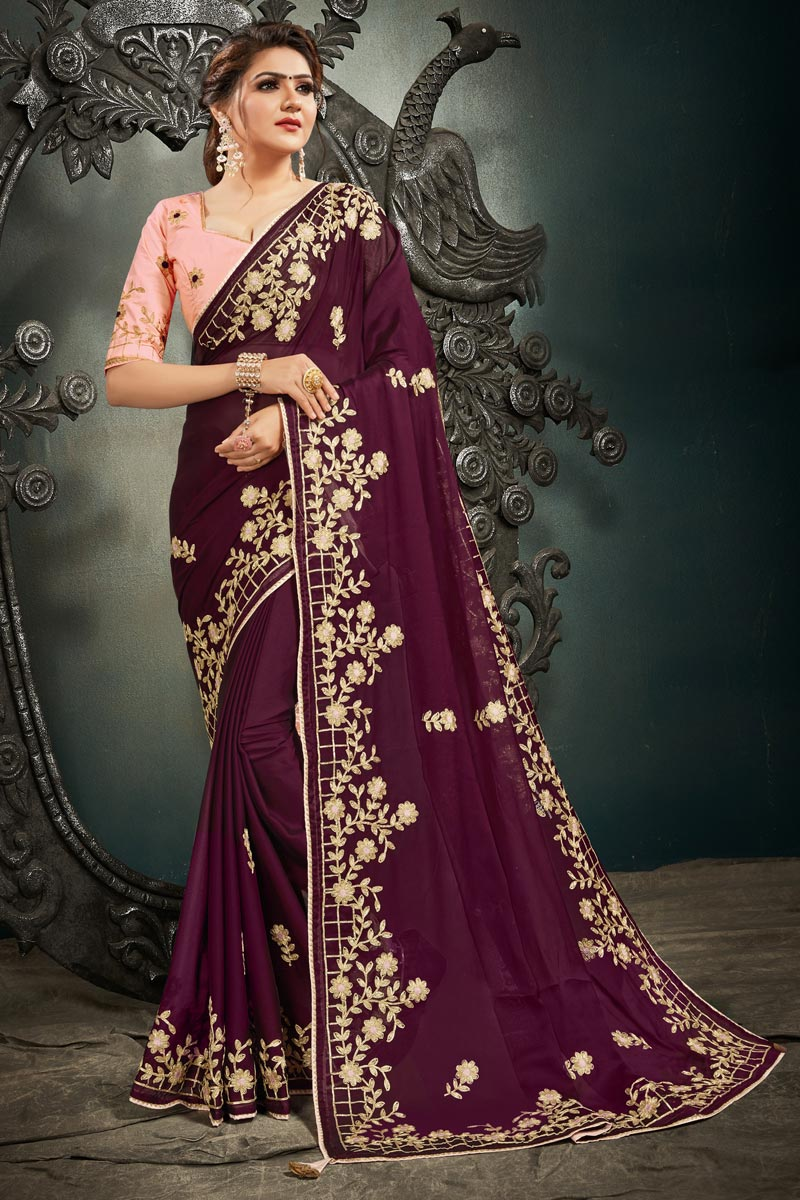 Festive Wear Satin Fabric Fancy Embroidery Work Saree In Wine Color