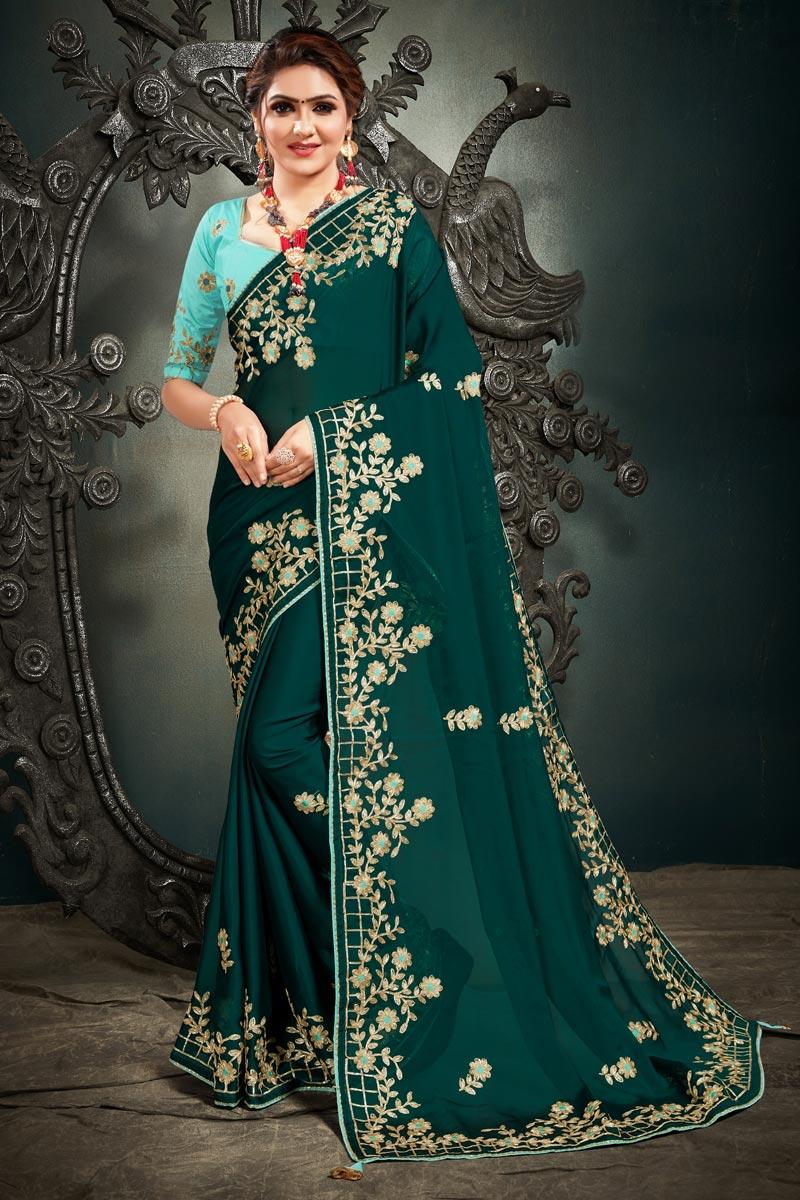 Dark Green Color Festive Wear Fancy Satin Fabric Embroidery Work Saree