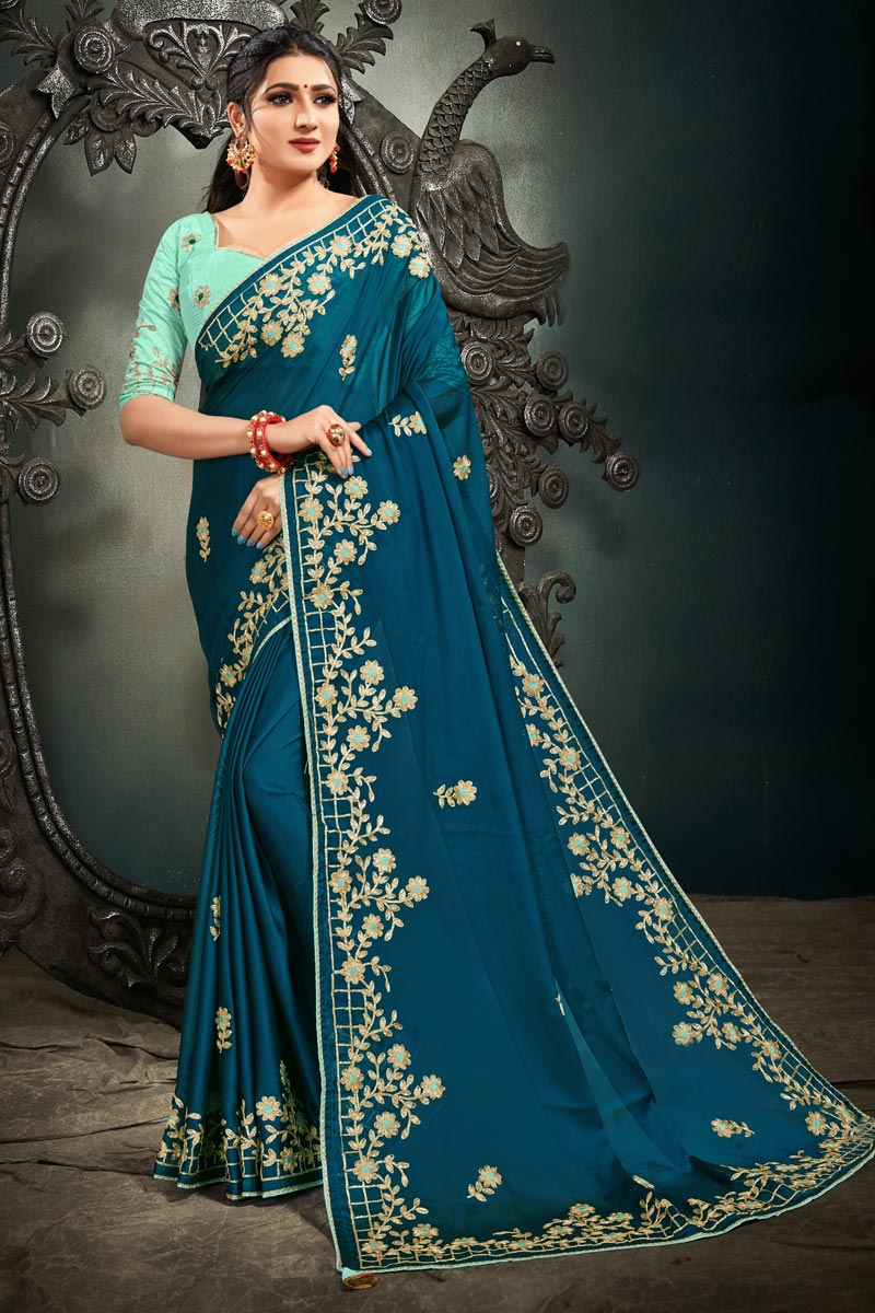 Teal Color Party Wear Satin Fabric Fancy Embroidery Work Saree