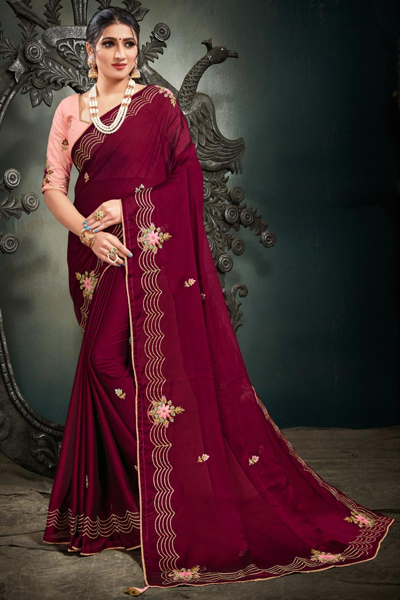 Maroon Color Reception Wear Fancy Satin Fabric Embroidery Work Saree