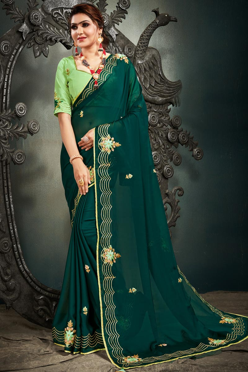 Dark Green Color Function Wear Satin Fabric Embroidery Work Saree