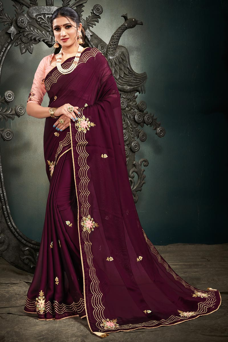 Satin Fabric Embroidery Work Festive Wear Trendy Saree In Wine Color