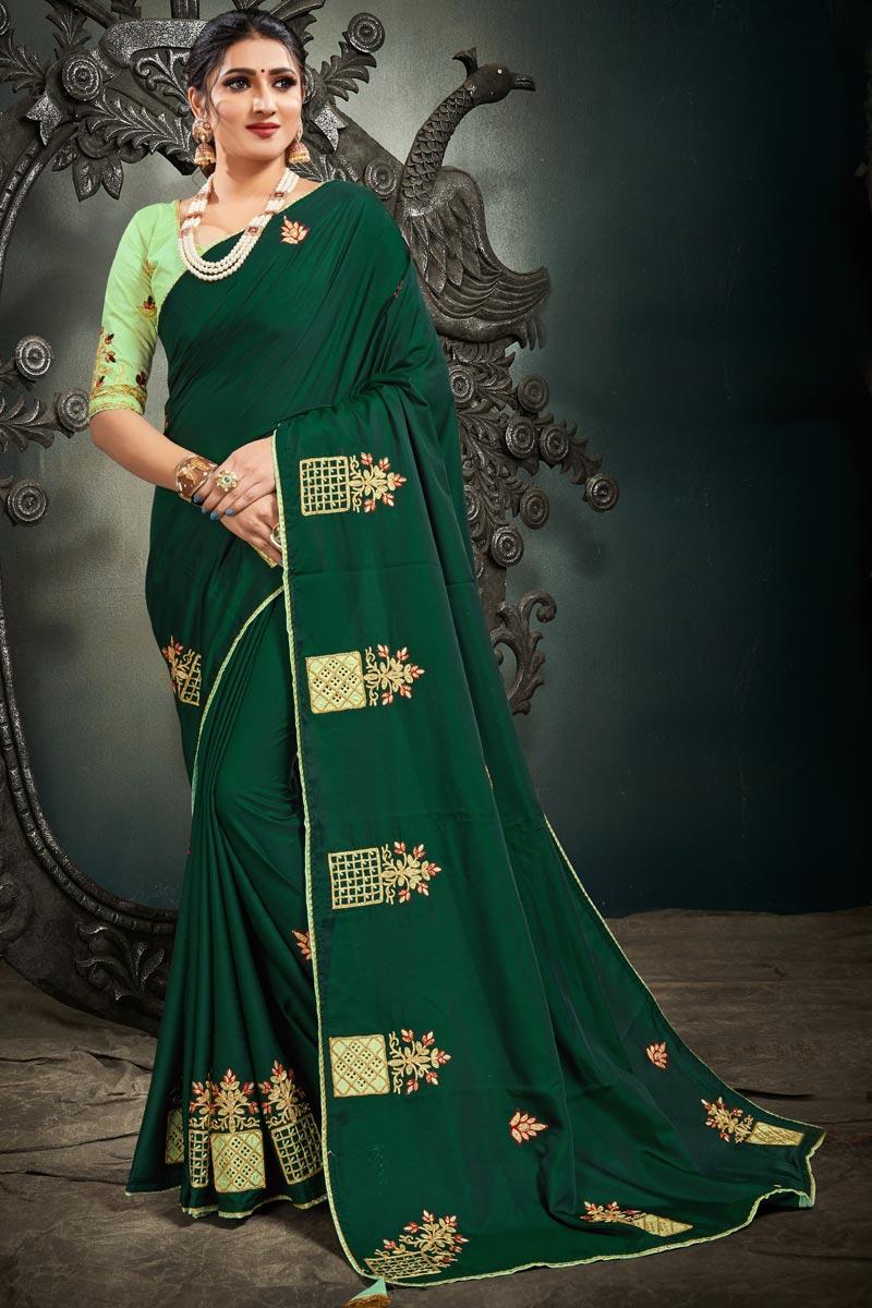 Embroidery Work Sangeet Wear Stylish Saree In Dark Green Color Satin Silk Fabric