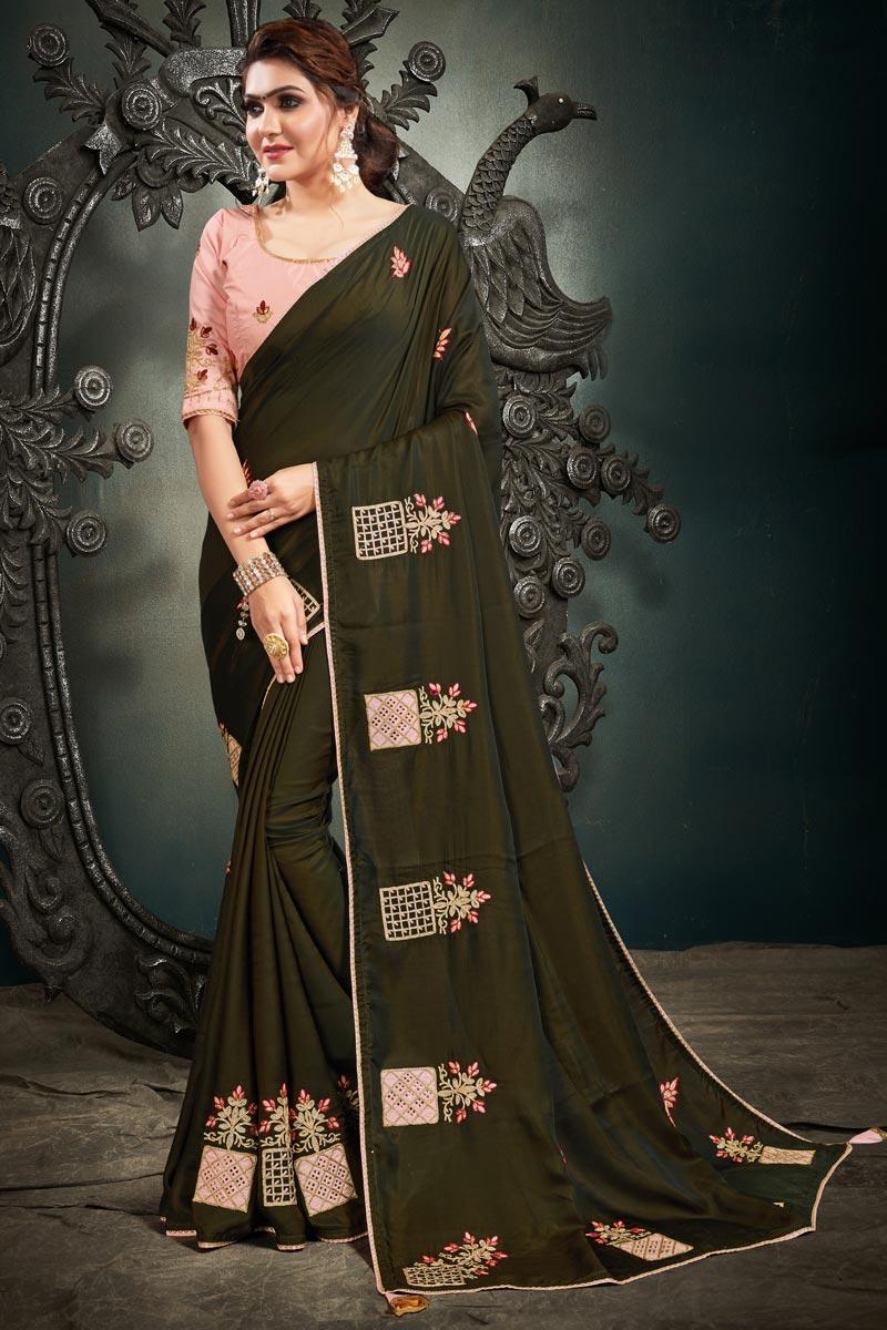 Satin Silk Fabric Embroidery Work Wedding Wear Designer Saree In Mehendi Green Color