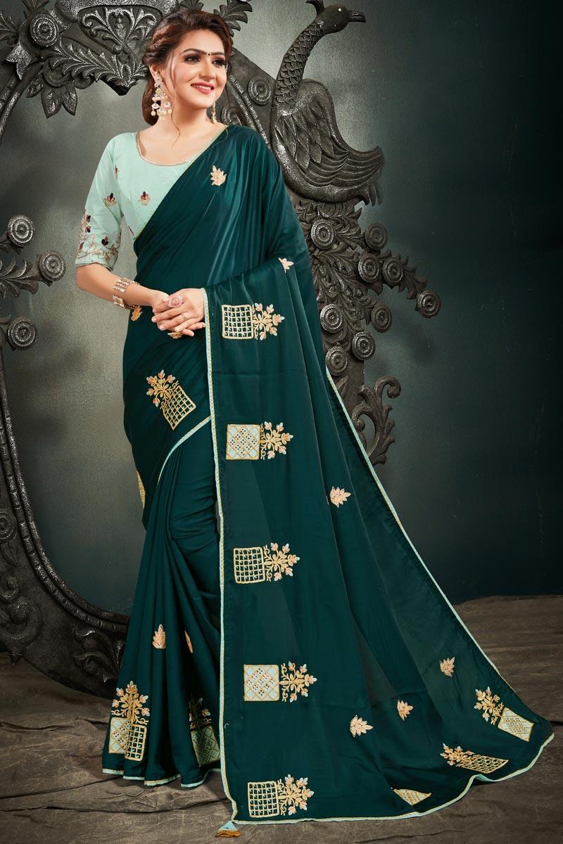 Teal Color Satin Silk Fabric Embroidery Work Reception Wear Fancy Saree