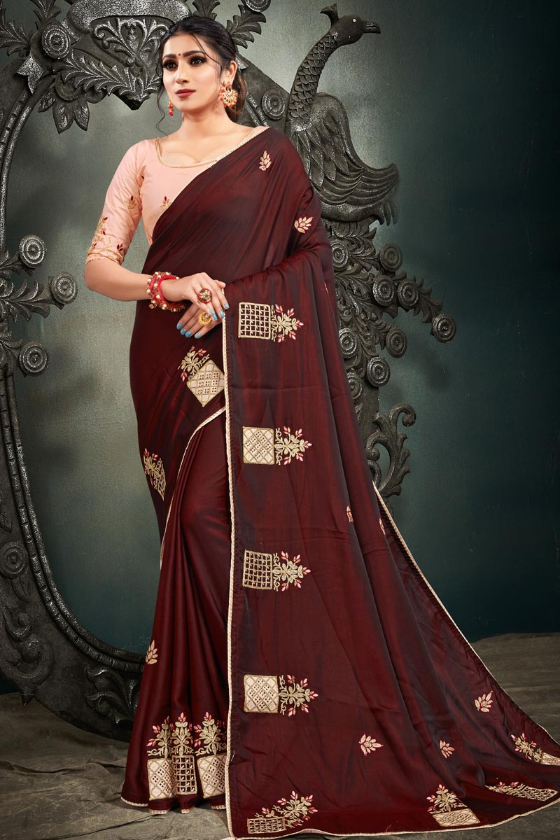 Satin Silk Fabric Function Wear Maroon Color Embroidery Work Saree