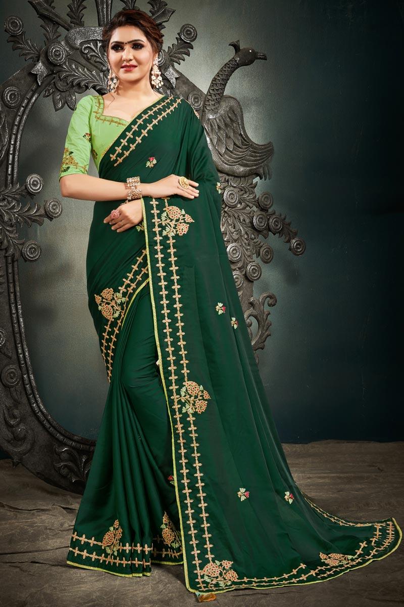 Dark Green Color Function Wear Satin Silk Fabric Embroidery Work Saree