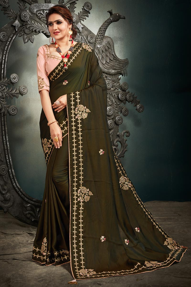 Mehendi Green Color Function Wear Trendy Embroidered Saree In Satin Silk Fabric