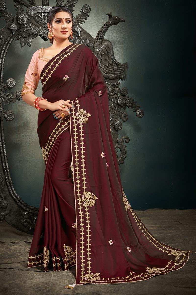 Festive Wear Maroon Color Satin Silk Fabric Embroidery Work Saree