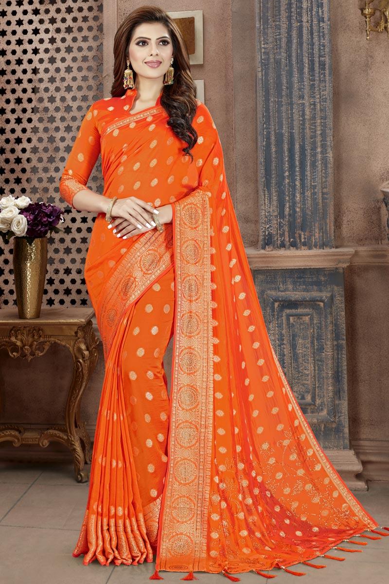 Art Silk Fabric Fancy Orange Festive Wear Weaving Work Saree