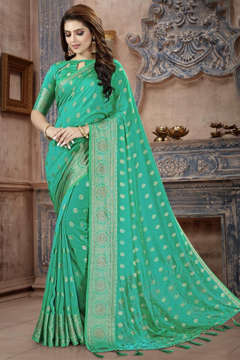 Fancy Festive Wear Art Silk Fabric Cyan Weaving Work Saree