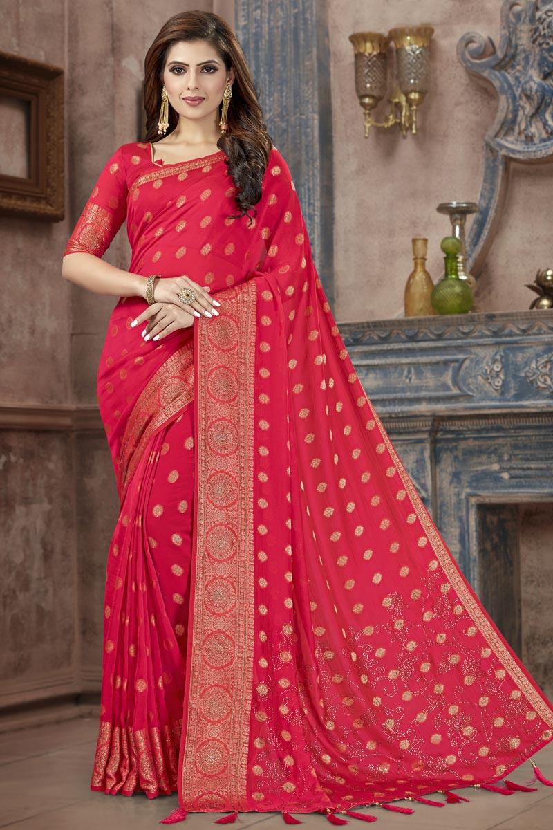 Art Silk Fabric Fancy Festive Wear Pink Weaving Work Saree