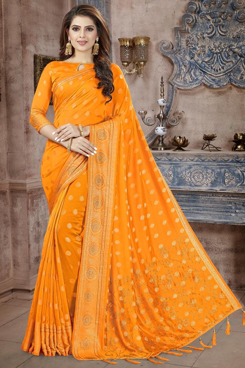 Mustard Fancy Art Silk Fabric Festive Wear Weaving Work Saree