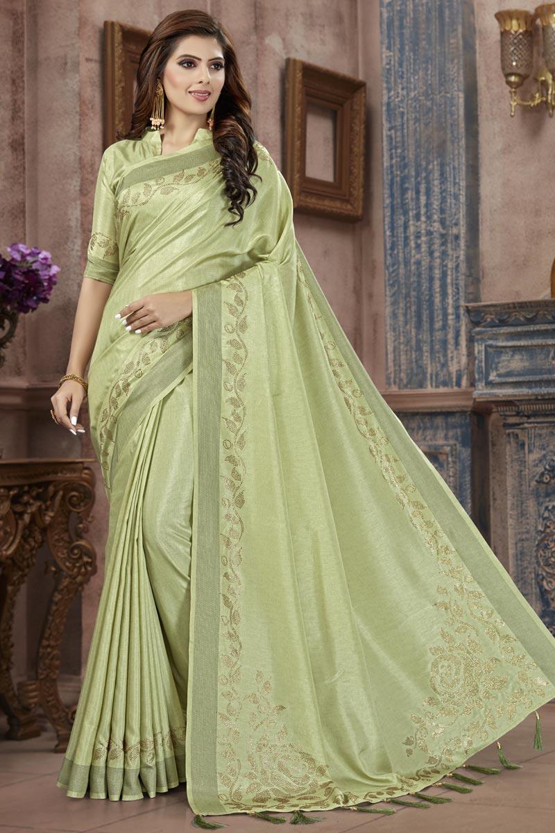 Fancy Art Silk Fabric Festive Wear Sea Green Weaving Work Saree
