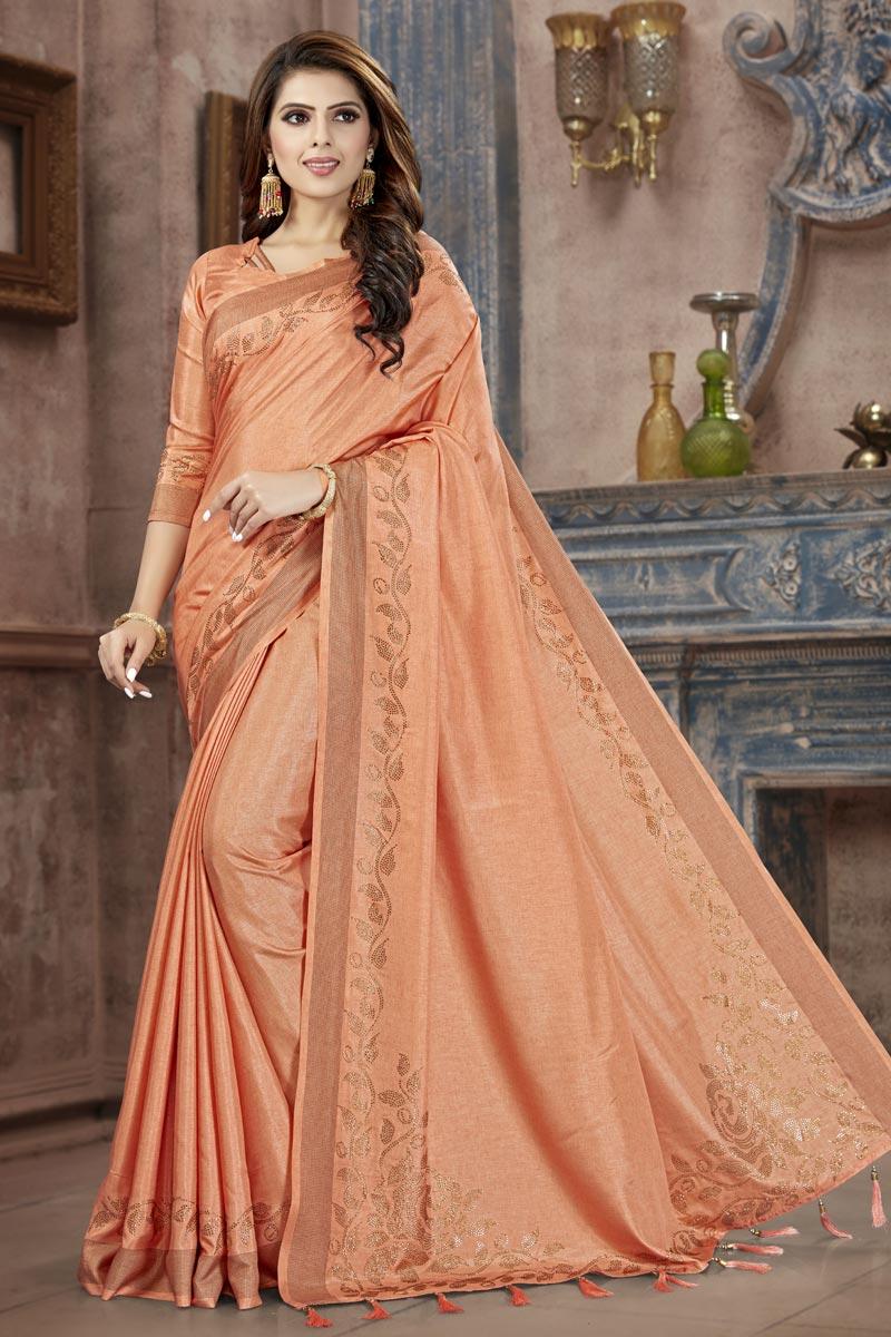 Festive Wear Fancy Peach Weaving Work Saree In Art Silk Fabric