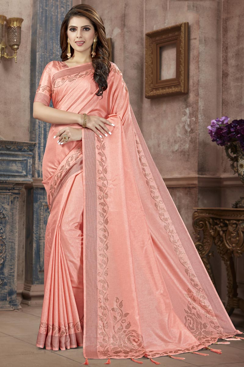 Fancy Festive Wear Pink Art Silk Fabric Weaving Work Saree