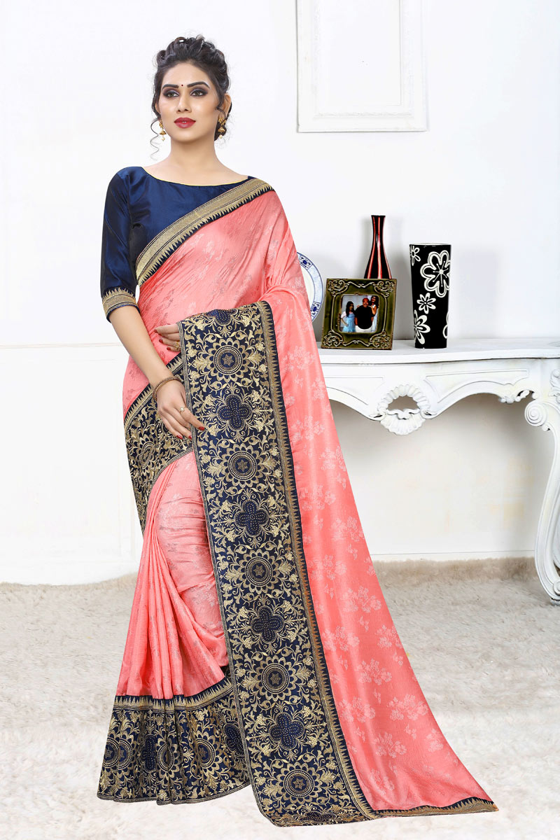 Occasion Wear Jacquard Silk Fabric Weaving Work Saree In Pink With Designer Blouse