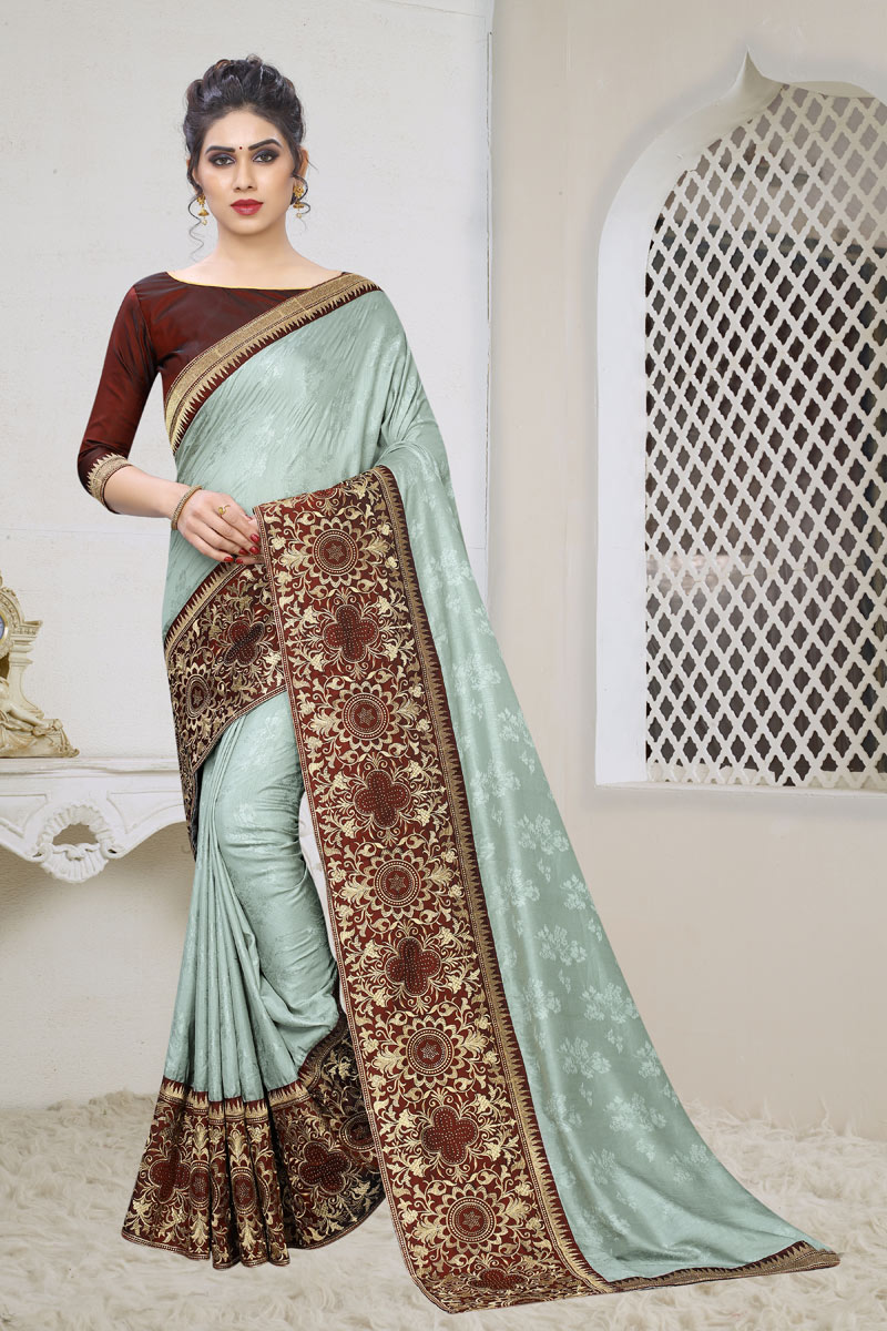 Weaving Work On Jacquard Silk Fabric Grey Function Wear Saree With Marvelous Blouse