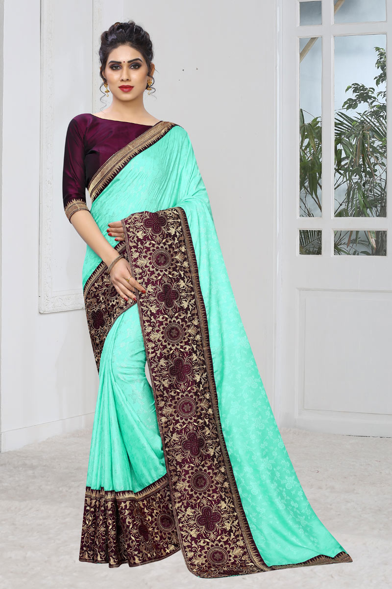 Jacquard Silk Fabric Light Teal Festive Wear Saree With Weaving Work And Attractive Blouse