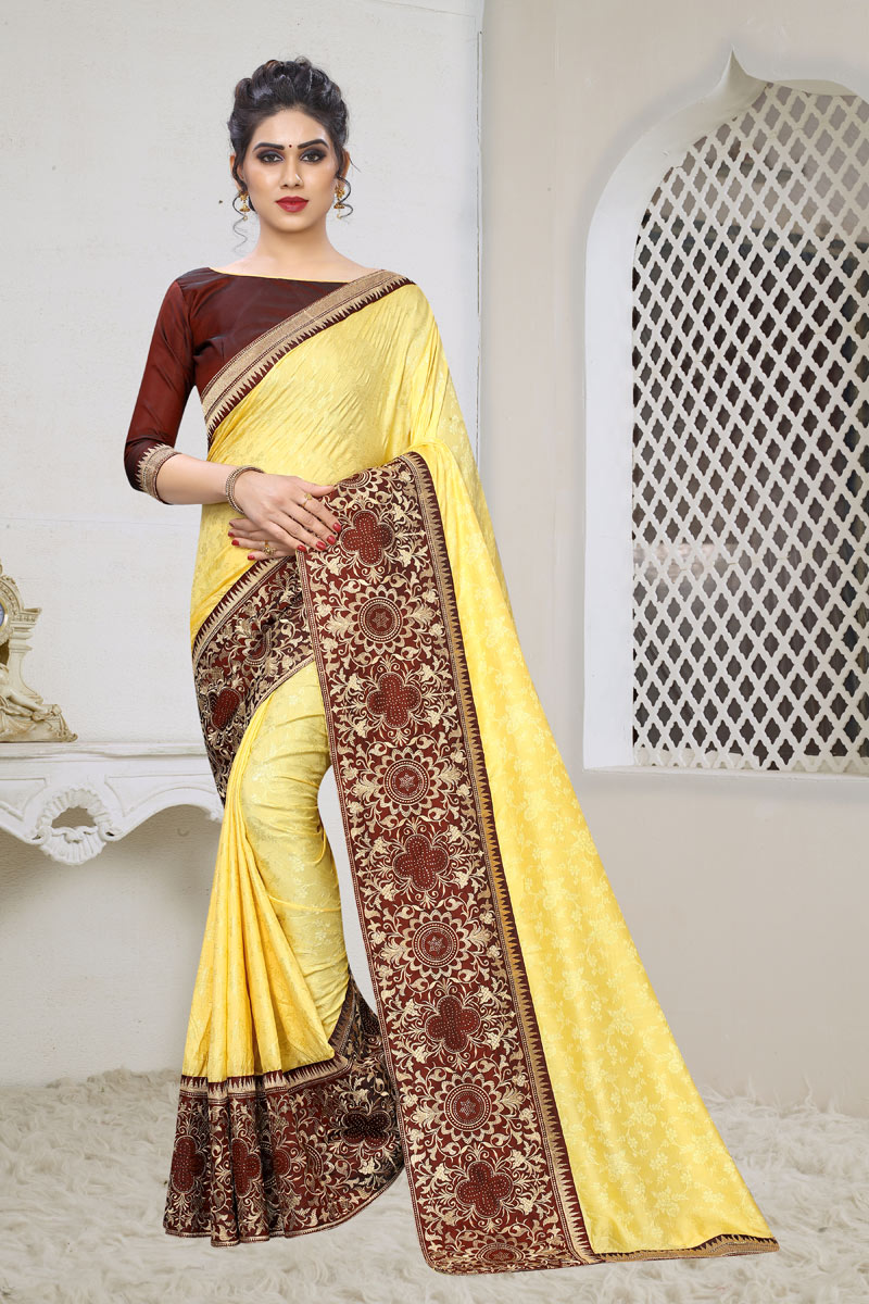 Jacquard Silk Fabric Weaving Work Designs On Yellow Reception Wear Saree With Attractive Blouse