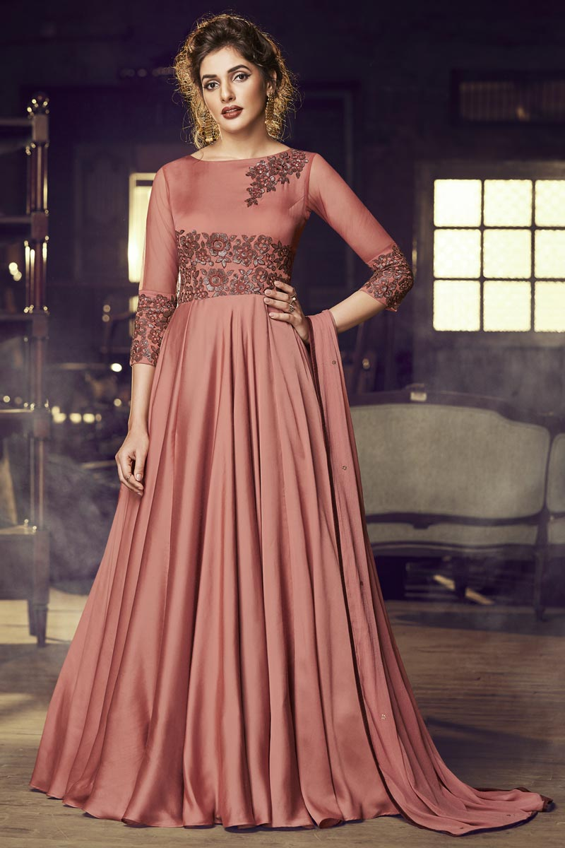 Eid Special Designer Satin Fabric Function Wear Embroidered Rust Color Readymade Gown