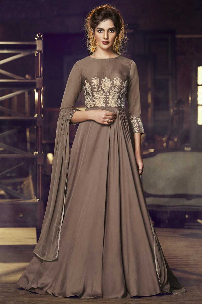 Function Wear Brown Designer Embroidered Readymade Gown In Satin Fabric