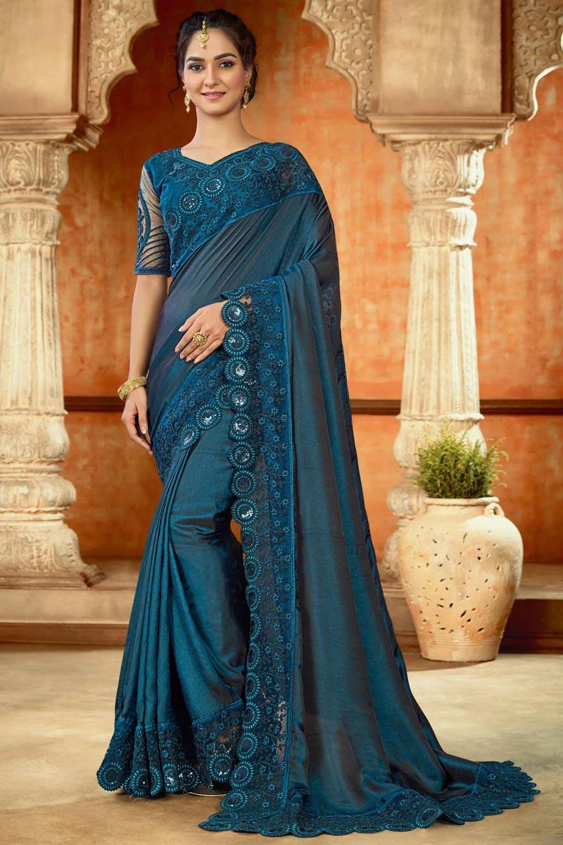 Teal Color Art Silk Fabric Embroidery Work Festive Wear Fancy Saree