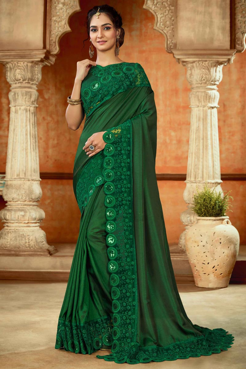 Sangeet Wear Green Color Embroidery Work Saree