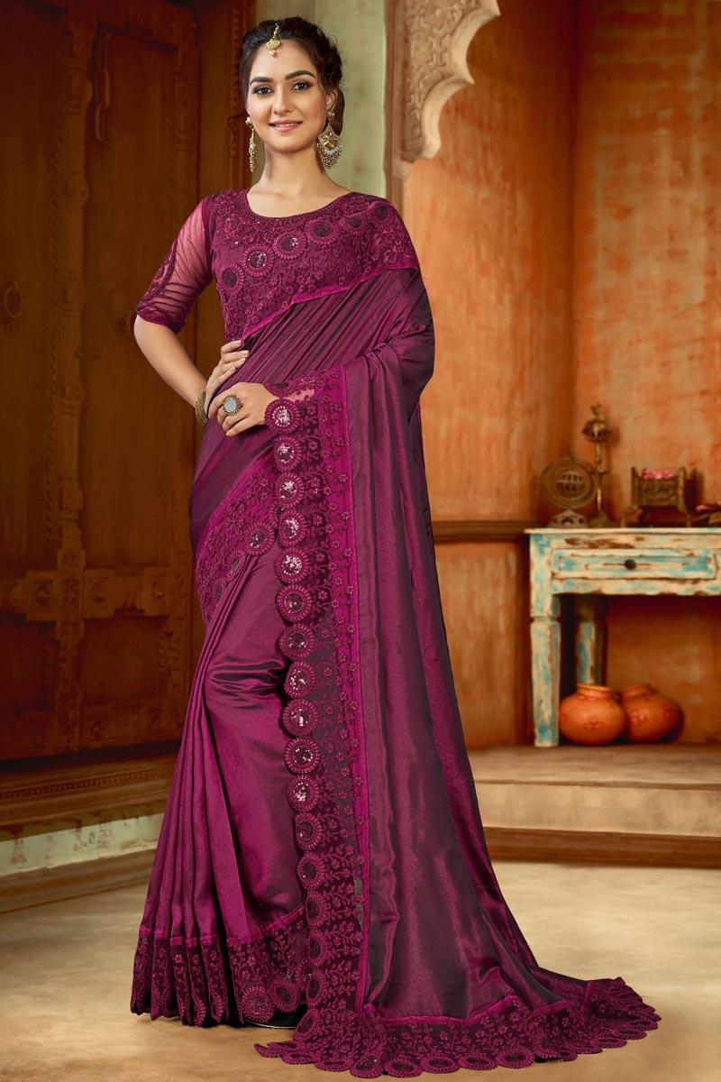 Sangeet Wear Purple Color Art Silk Fabric Embroidery Work Saree