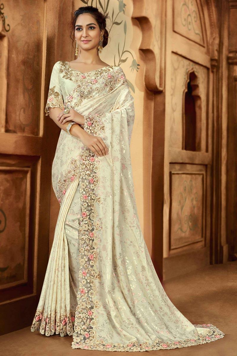 Art Silk Fabric Reception Wear Saree In Beige Color