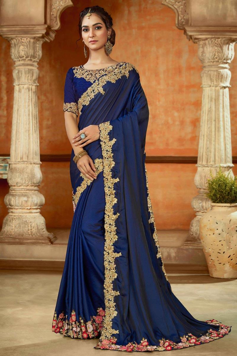 Navy Blue Color Art Silk Fabric Function Wear Saree